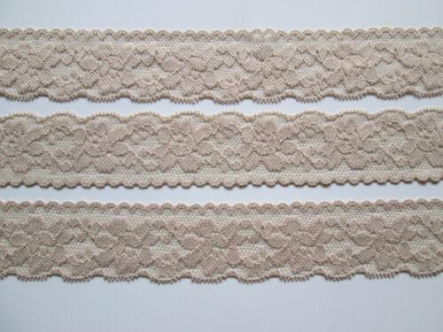 10 METER Hell Braun SPITZE elastisch Borte Lace 3cm breit MODE