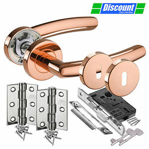 Image is loading Door-Handle-Pack-with-Polished-Copper-Door-Handles-  sc 1 st  eBay & Door Handle Pack with Polished Copper Door Handles Lock Hinges and ...