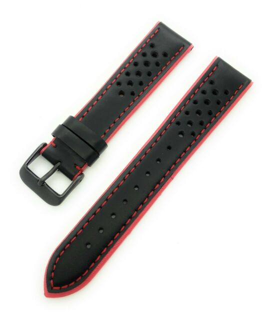 20mm HADLEY ROMA MENS HIGH PERFORMANCE   LEATHER SPORT STRAP MS755 RED