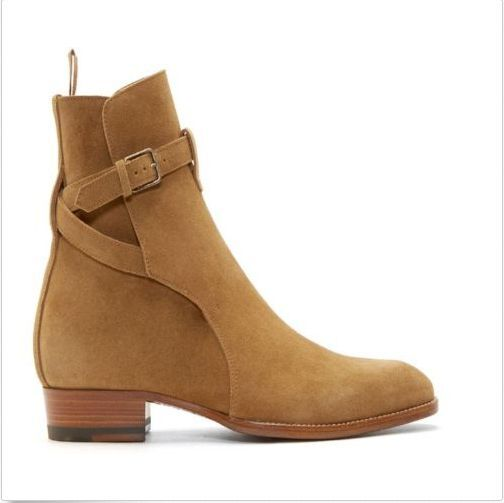 New Uomo Suede Pelle Pelle Pelle Pointy Toe Buckle Ankle Stivali High Top Dress Casual Shoes 8733da