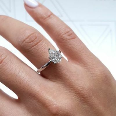 1.60Ct Solitaire Pear Shaped Diamond Wedding//Engagement 925 Sterling Silver Ring