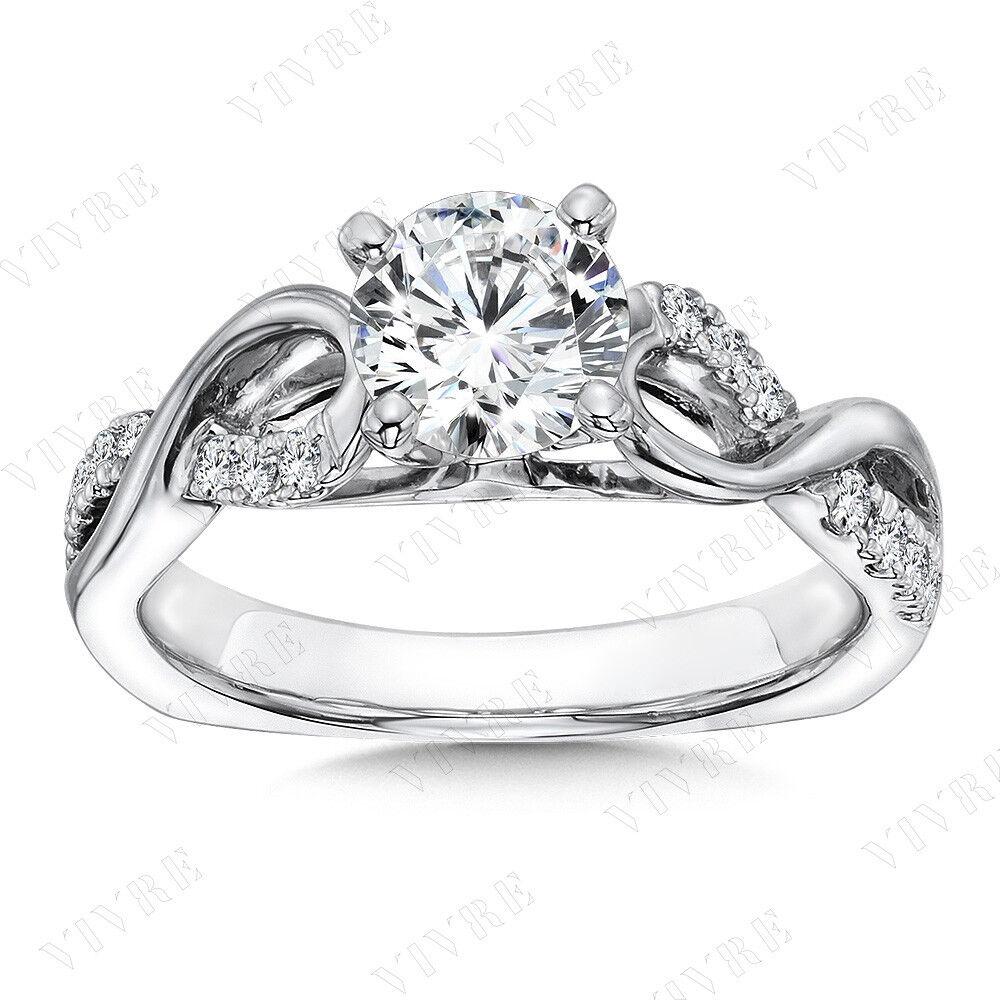 1.25ct Round Cut D VVS1 Diamond Infinity Engagement Wedding Ring 14k White gold