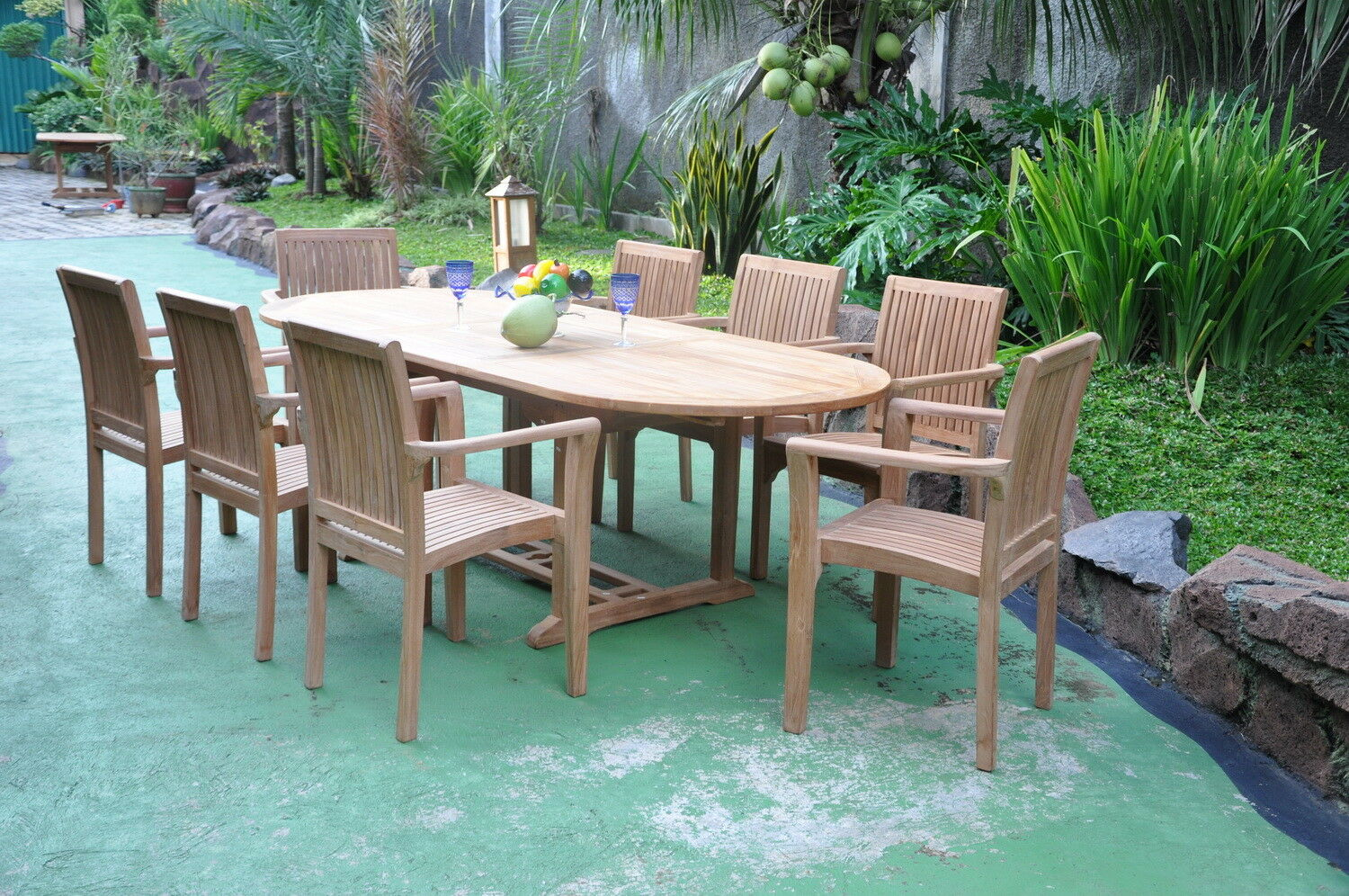 Remarkable Massive 2 4M Oval Extending Chunky Teak Wood Garden Dining Table Stacking Chairs Ibusinesslaw Wood Chair Design Ideas Ibusinesslaworg