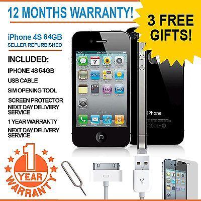 Apple iPhone 4S 64GB - Black - Factory Unlocked - Good Condition