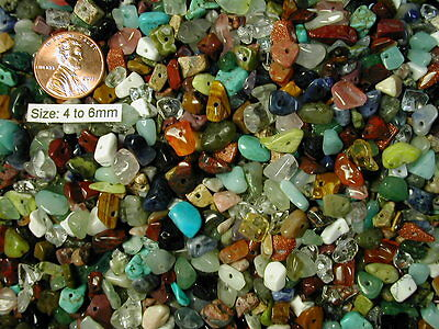 200+ Small GEMSTONE BEADS Mix Lot! Many Colorful Gem Varieties! 4-6mm