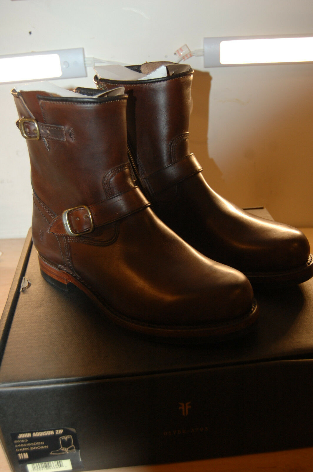 NU FRYE Uomo John Addison Inside Zip Engineer  478 Stivali 11 M Brown Made IN  A
