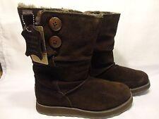 Women's Skechers Australia Cozy Brown Suede Leather Boots Size 7 Faux Fur Lined