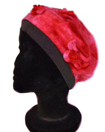 Luxus Baskenmütze Beret Hut Mütze Wollmütze Wintermütze Blume Rote//Weiß Wolle