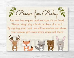 Image Is Loading Woodland Forest Animals Baby Shower Book Request Cards
