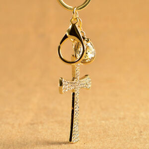 Image is loading Rhinestone-Alloy-Cross-Keychain-Key-Holder-Crystal-Keyring- 611ce92626