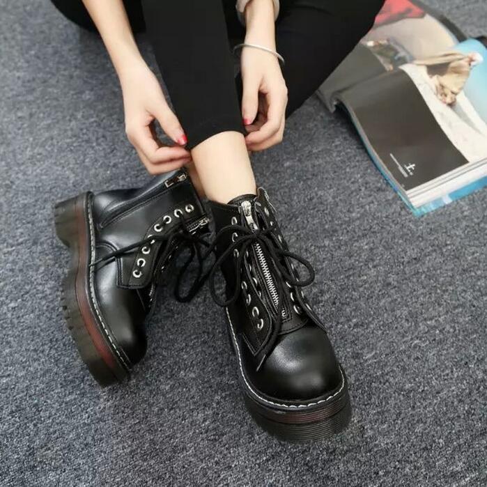 Women's lace up zipper combat riding boots platform ankle top retro oxford shoes