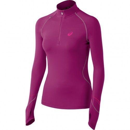 Asics LITE-SHOW FAVORITE Womens 1 2 Zip Long Sleeve Running Shirt S Berry NEW