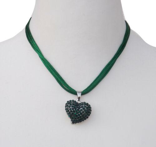 ANNI Trachtenschmuck Trachtenkette Halskette Trachten Kette Strass Herz Dirndl