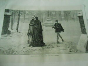 Christmas Morning In The Olden Time Gravure Antique Print 1870 Style à La Mode;