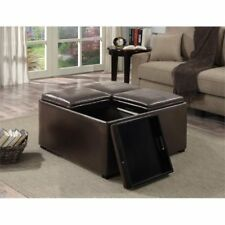 F07 Avalon Coffee Table Storage Ottoman With 4 Serving Trays By Simpli Home