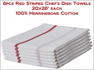 "6pcs PRO White w//Red Stripe Chef/'s Dish Towels 20x26/"" Herringbone 100/% Cotton"