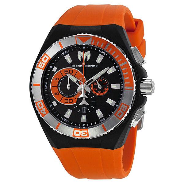 Technomarine Locker Chronograph Black Dial Stainless Steel Orange Silicone Mens