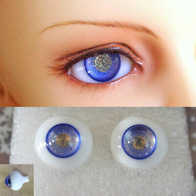 14mm blue /& gold color high quality glass bjd doll eyes dollfie minifee ship US