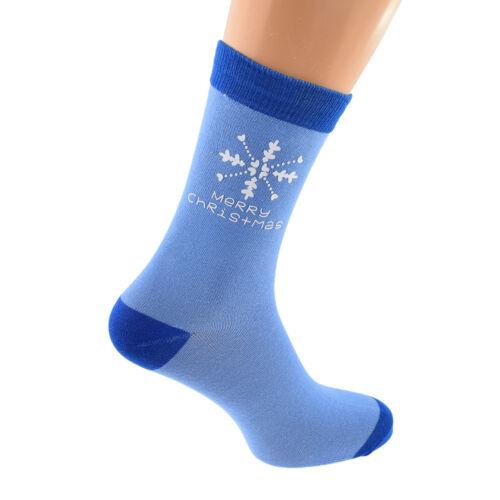 Blu Pallido /& Blu Scuro Fiocco di Neve Buon Natale Calze Unisex Tg UK 5-12 X6N760