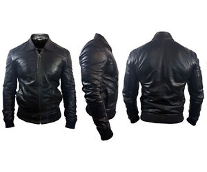 NEW Mens Designer ALEXANDER CAINE Black Original Lamb Skin Leather ...