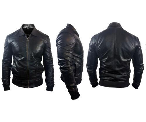 Caine bomber di Mens New Designer pelle Nero originale in Alexander Giacca agnello tH4nRwqC