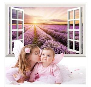 US-STOCK-Wall-Sticker-3D-Window-Lavender-Living-Room-Bedroom-Decal-Lobby-Decor