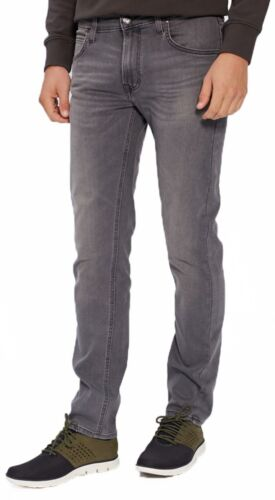 Lee DAREN Slim Fit Tapered Jeans Uomo Nero Grigio indossato Straight Faded Denim