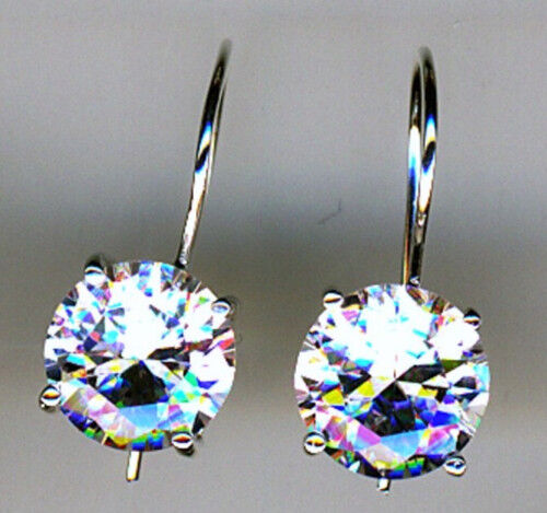 925 Sterling Silver Round Clear Cubic Zirconia1 Piece Earrings   8mm stone