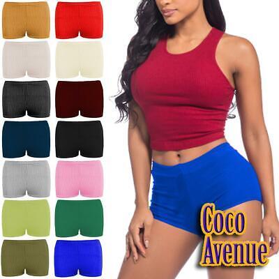 New Womens Plain Ribbed Stretchy Hot Pants Shorts Dance Gym Party Mini Shorts
