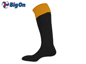 CLEARANCE NEW* BIGON - TURN OVER TOP FOOTBALL SOCKS - MENS 7-11 - BLACK/AMBER