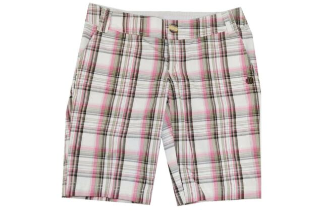 Element DENISE Black Rose Blue Plaid Pockets Casual Walking Junior/'s Shorts