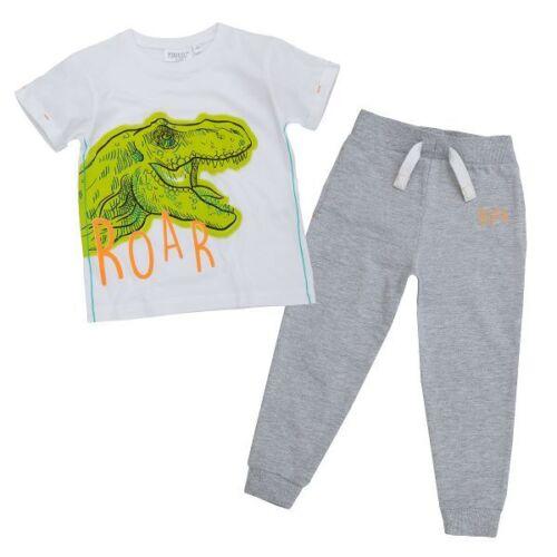 UK 2pc Boys Dinosaur White T Shirt /& Grey//Blue Joggers Clothes Outfit Set 3-8yrs
