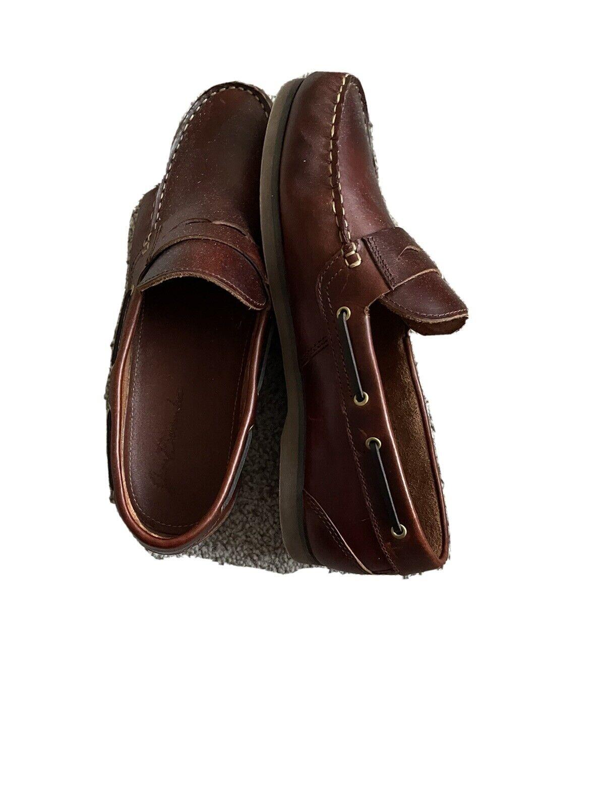 JIM BOOMBA Slip on Boat Shoes - Premium Leather Slip-on Deck Shoes - Mahogany