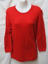 Geneva Red 100% Cashmere Soft Retro Pocket Sweater M