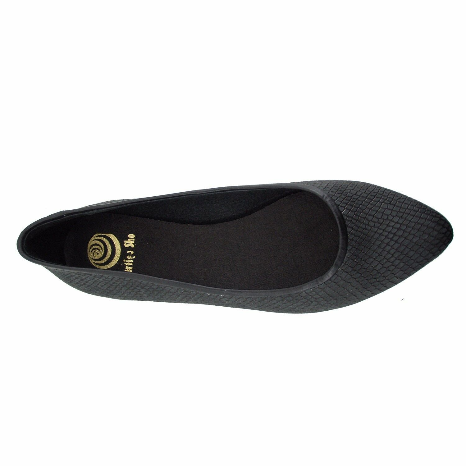 Size 8 Women's Black Leather Point Toe Ballet Flats MADE IN SPAIN