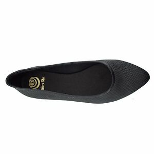 Size-12-Women-039-s-Black-Leather-Point-Toe-Ballet-Flats-MADE-IN-SPAIN