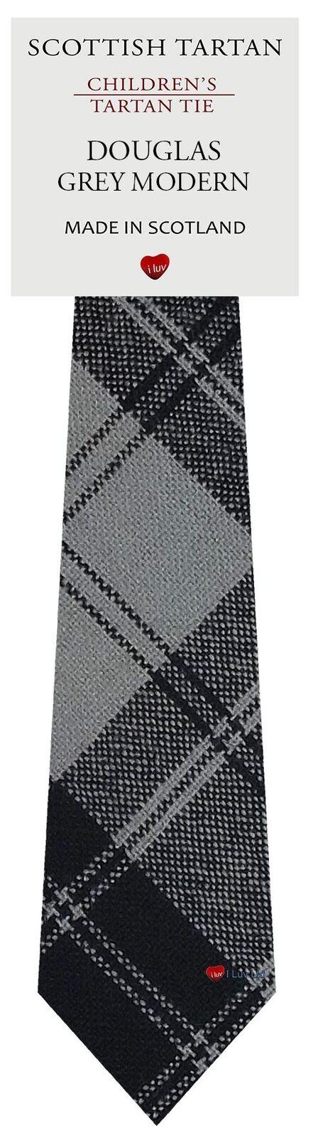 Boys Clan Tie Made in Scotland Douglas Grey Modern Tartan