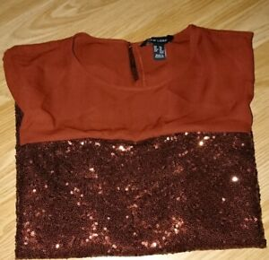New-Look-Brown-Short-Sleeve-Top-Size-14-CN-175-96A