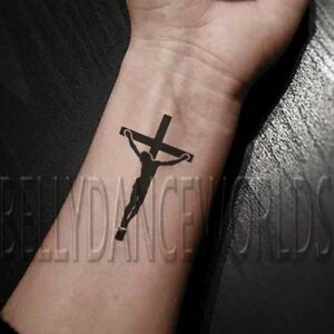 SET of 2 crucifixion of Jesus Christ cross silhouette temporary ...