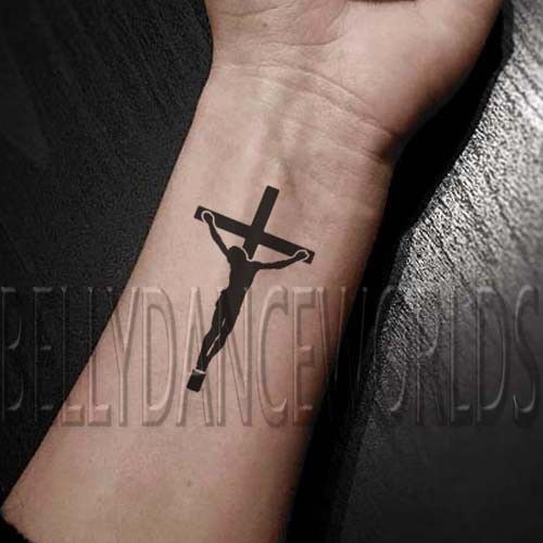 Details about SET of 2 crucifixion of Jesus Christ cross silhouette  temporary tattoo sticker