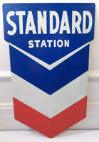 Chevron Standard Sign Gas Station Metal Die Cut Red White And Blue Advertising