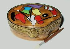 LIMOGES BOX - ARTIST'S 'WOODEN' PAINT PALETTE & BRUSHES - REMOVABLE WOODEN BRUSH