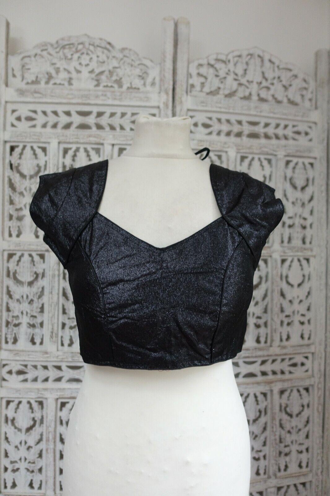 Black Indian Bollywood dress Choli / Tunic / UK 10 / EU 36 sari blouse SKU17170