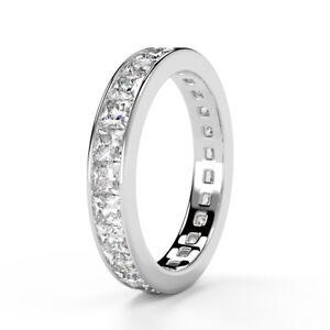 Certificado-3-5mm-1-50Ct-Princesa-Diamante-Completo-Anillo-de-la-eternidad-oro-blanco-Hallmark