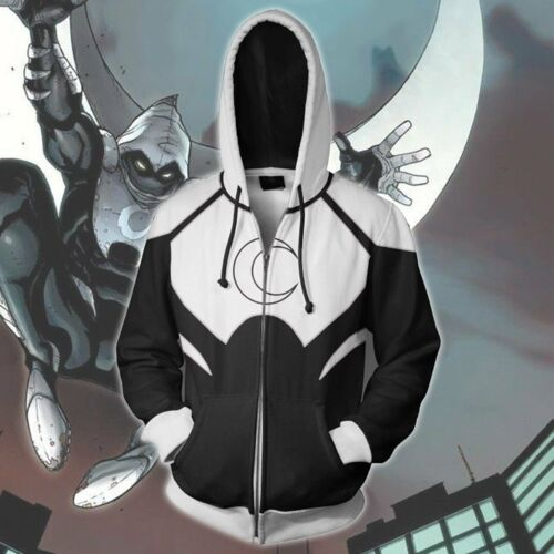 Superhero Movie Moon Knight hoodie Sweatshirt Cosplay Costume coat jacket Cool