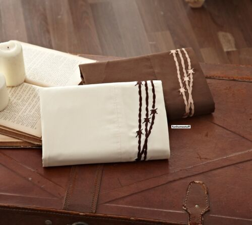 EMBROIDERED BARBED WIRE WESTERN PLAINS SUPER SOFT BED SHEETS SHEET SET BARB WIRE