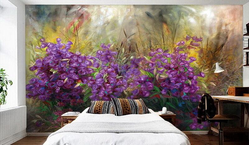 Puple Flowers Oilpainting Effect  Wallpaper Wall Decals Wall Art Print Mural