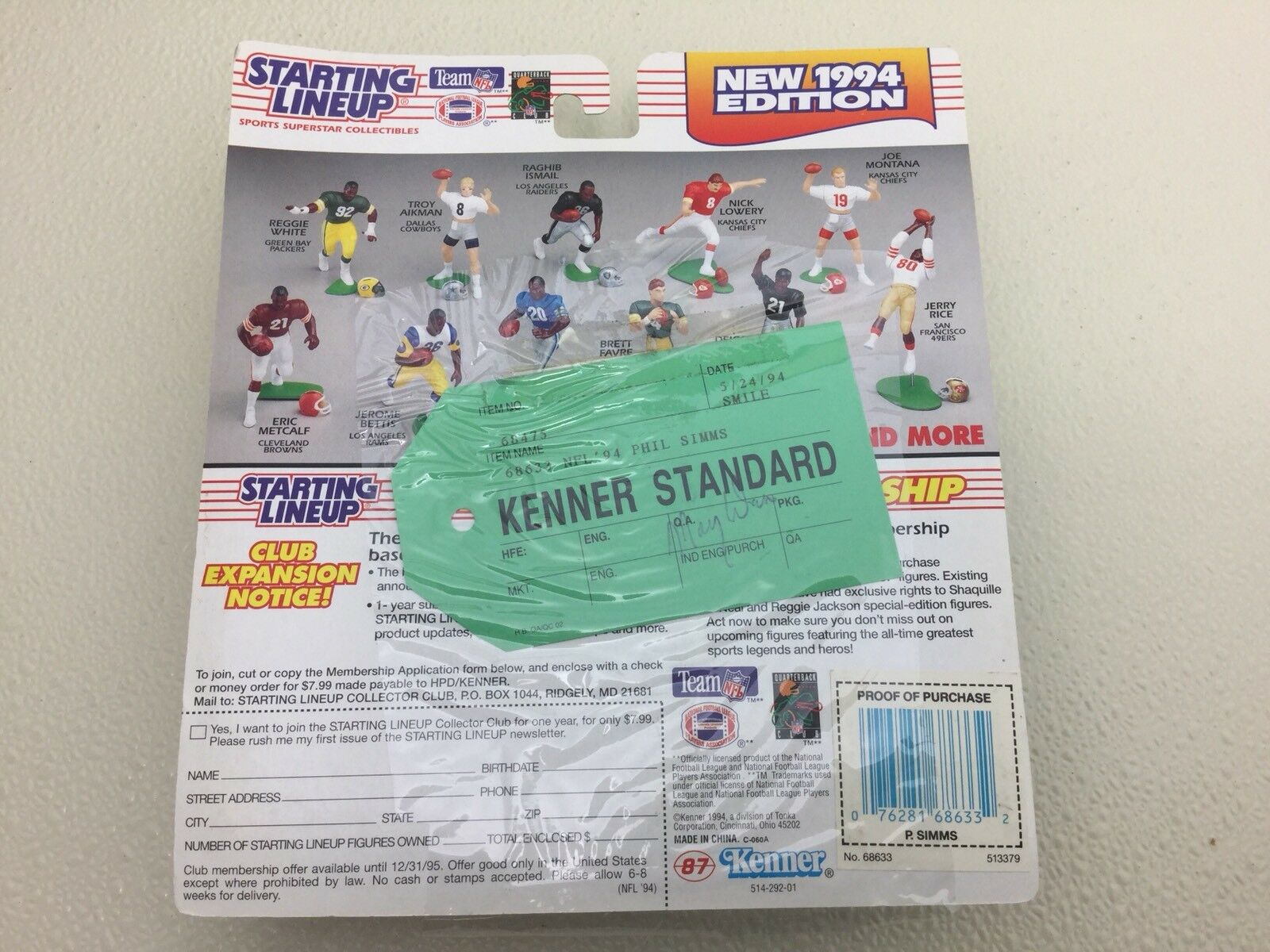 KENNER STeARD 1994 PHIL  SIMMS estrellaTING LINEUP  nuovo YORK N.Y. NY GIANTS SLU  Ultimo 2018