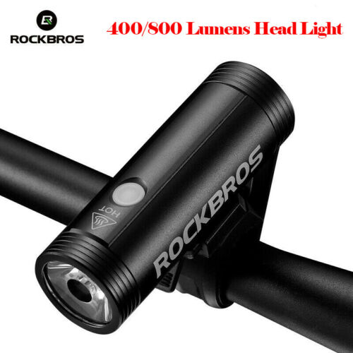 ROCKBROS Bike Head Light 400//800Lumens Rainproof Bicycle Light USB Charging Lamp