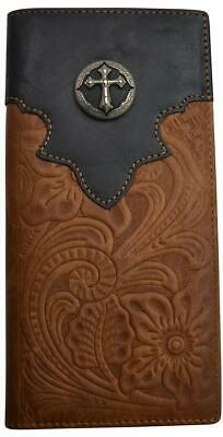 3D Western Mens Wallet Leather Rodeo Rawhide Silver Cross Concho Brown W402